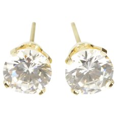14K Round Classic Solitaire Prong CZ Stud Earrings Yellow Gold [QRXW]