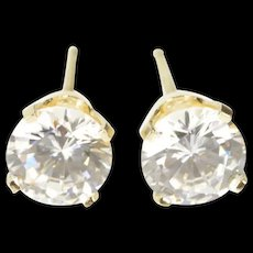 14K Round Classic Solitaire Prong CZ Stud Earrings Yellow Gold [CXXQ]