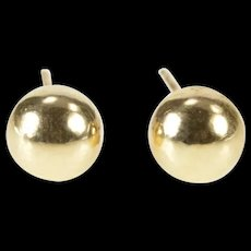 10K 6.0mm Round Ball Sphere Simple Stud Earrings Yellow Gold [CXXQ]