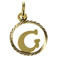 14K Round G Initial Monogram Letter Circle Charm/Pendant Yellow Gold [QRXR]