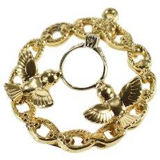 14K Diamond Engagement Ring Dove Engagement Charm/Pendant Yellow Gold [QRXR]