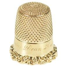 14K Ornate Engraved Floral Trim Sewing Thimble  Yellow Gold [QRQX]