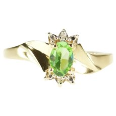 10K Oval Sim. Lemon Lime Quartz Diamond Accent Ring Size 7.5 Yellow Gold [QRXR]