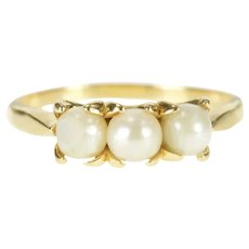 14K Ornate Three Stone Pearl Prong Ring Size 9 Yellow Gold [QRXR]