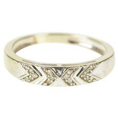 10K Diamond Chevron Pattern Wedding Band Ring Size 5.25 White Gold [QRXR]