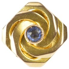 9K Retro Syn. Sapphire Twist Knot Slide Bracelet Charm/Pendant Yellow Gold [QRXR]