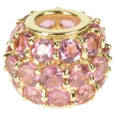 14K Pink Topaz Pave Encrusted Round Slide Bead Charm/Pendant Yellow Gold [QRXR]