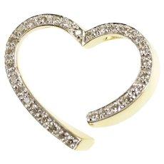 14K Diamond Inset Curvy Heart Anniversary Love Pendant Yellow Gold [CXXF]