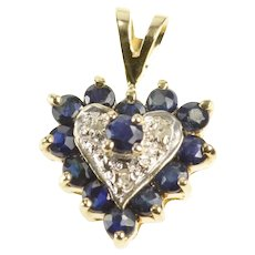 10K Sapphire Diamond Halo Heart Anniversary Gift Pendant Yellow Gold [QRXR]
