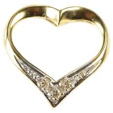 14K Diamond Inset Heart Love Anniversary Gift Pendant Yellow Gold [QRXR]