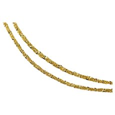 "14K 1.5mm Fancy Textured Twist Link Chain Necklace 18"" Yellow Gold [QRXR]"