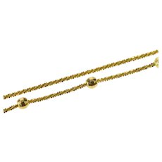 "14K 1.5mm Beaded Pinwheel Link Textured Chain Necklace 17"" Yellow Gold [QRQX]"