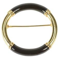 14K Black Enamel Retro Round Circle Pin/Brooch Yellow Gold [QRXR]