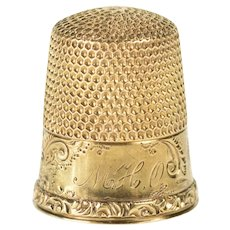 14K Victorian Ornate Etched Floral Scroll Thimble  Yellow Gold [QRQX]