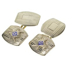 10K Art Deco Masonic Enamel Pinstriped Men's Cuff Links White Gold [QRXR]