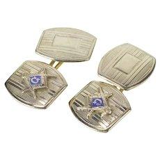 10K Art Deco Masonic Enamel Pinstriped Men's Cuff Links White Gold [CXXF]