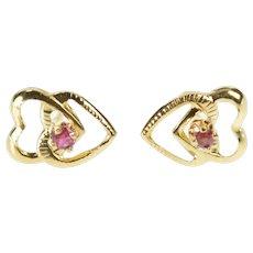 14K Round Syn. Ruby Inset Heart Retro Stud Earrings Yellow Gold [QRQX]