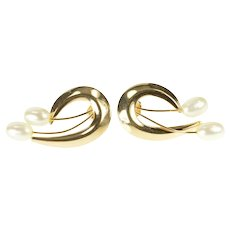 14K Retro Swirl Design Pearl Accent Statement Earrings Yellow Gold [CXXF]