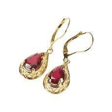 14K Pear Syn. Ruby Filigree Dangle Lever Back Earrings Yellow Gold [QRQX]