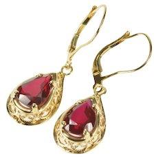 14K Pear Syn. Ruby Filigree Dangle Lever Back Earrings Yellow Gold [CXXF]
