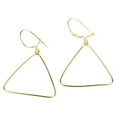 14K Triangle Dangle Geometric Statement Hook Earrings Yellow Gold [CXXC]