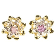 14K Ruby Two Tone Halo Floral Motif Stud Earrings Yellow Gold [QRQX]