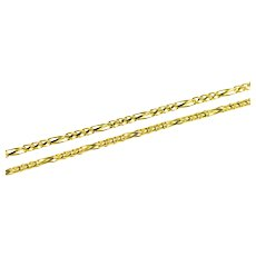 "14K 1.2mm Foxtail Fancy Link Chain Necklace 18"" Yellow Gold [QRQX]"