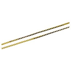 """14K 0.7mm Box Chain Fancy Square Link Necklace 18.5"""" Yellow Gold [CXXC]"""