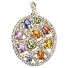 18K Oval Pave Diamond Encrusted Rainbow Oval Pendant White Gold [QRQX]