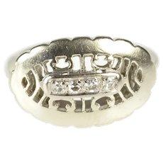 14K Diamond Retro Oval Filigree Statement Cocktail Ring Size 3.5 White Gold [QRQX]