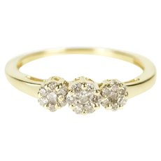 14K 0.30 Ctw Diamond Flower Promise Engagement Ring Size 6 Yellow Gold [CXXT]