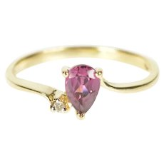 10K Pear Tourmaline Diamond Accent Bypass Ring Size 5.75 Yellow Gold [CXXT]