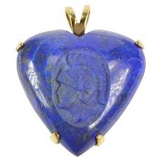 14K Carved Lapis Lazuli Heart Intaglio Statement Pendant Yellow Gold [CXXT]