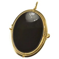 Gold Filled Oval Black Onyx Ornate Rope Trim Pendant/Pin  [CXXT]