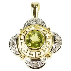 14K Peridot Diamond Accent Greek Wave Floral Pendant Yellow Gold [CXXT]