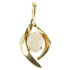14K Oval Natural Opal Ornate Wavy Statement Pendant Yellow Gold [QRQX]