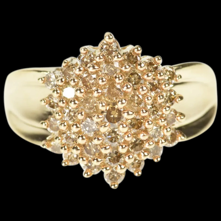 10k Light Brown Diamond Cluster Statement Ring Size 6 Yellow Gold M Barr Jewelry Ruby Lane