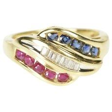 14K 0.60 Ctw Ruby Sapphire Diamond Wavy Ring Size 6.25 Yellow Gold [QRQX]