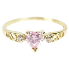 10K Pink CZ Heart Diamond Accent Scroll Filigree Ring Size 6.25 Yellow Gold [QRQX]