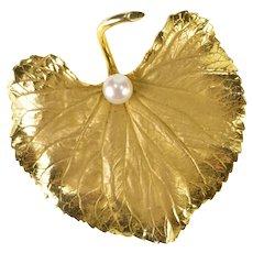 14K Retro Huge Pearl Satin Finish Leaf Statement Pin/Brooch Yellow Gold [QRQX]