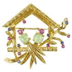 18K Love Bird House Ruby Sapphire Flourite Retro Pendant/Pin Yellow Gold [QRQX]