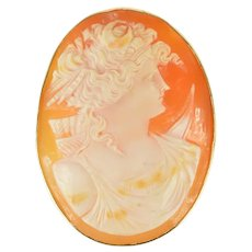 14K Victorian Carved Artemis Goddess Archer Cameo Pendant/Pin Yellow Gold [CXXT]