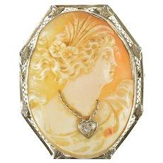 14K Carved Diamond Necklace Lady Filigree Cameo Pendant/Pin White Gold [CXXF]