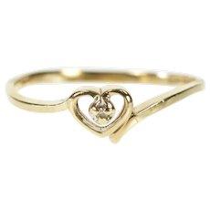 10K Diamond Inset Heart Love Promise Bypass Ring Size 6.25 Yellow Gold [QRQQ]