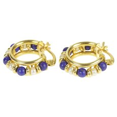 18K Ornate Lapis Lazuli Pearl Beaded Hoop Earrings Yellow Gold [QRQQ]