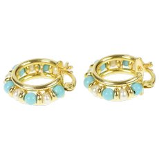 18K Pearl Turquoise Beaded Ornate Hoop Earrings Yellow Gold [QRQQ]