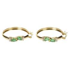 10K Pear Emerald Diamond Accent Statement Hoop Earrings Yellow Gold [QRQQ]