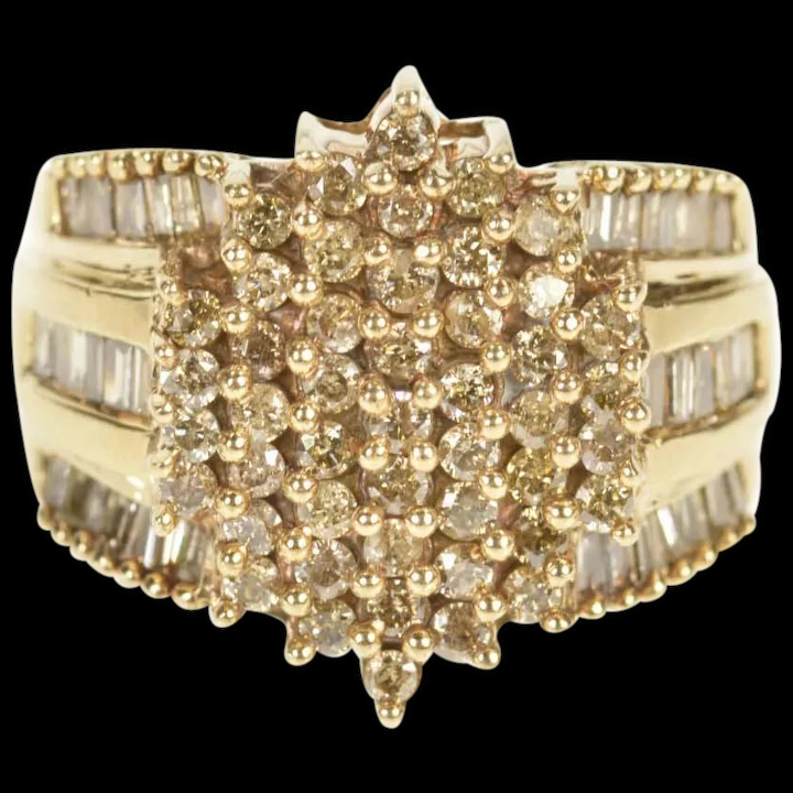 10k 2 31ctw Light Brown Diamond Cluster Statement Ring Size 7 25 M Barr Jewelry Ruby Lane
