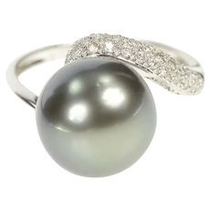 14K Pave Diamond Tahitian Pearl Bypass Cocktail Ring Size 7 White Gold [CXXT]