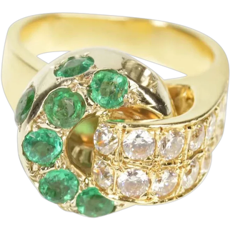 14K 2.62 Ctw Emerald Diamond 1930's Knot Cocktail Ring Size 7.25 Yellow Gold [CXXT]